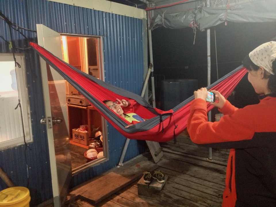 Eno hammocks in the fishing house