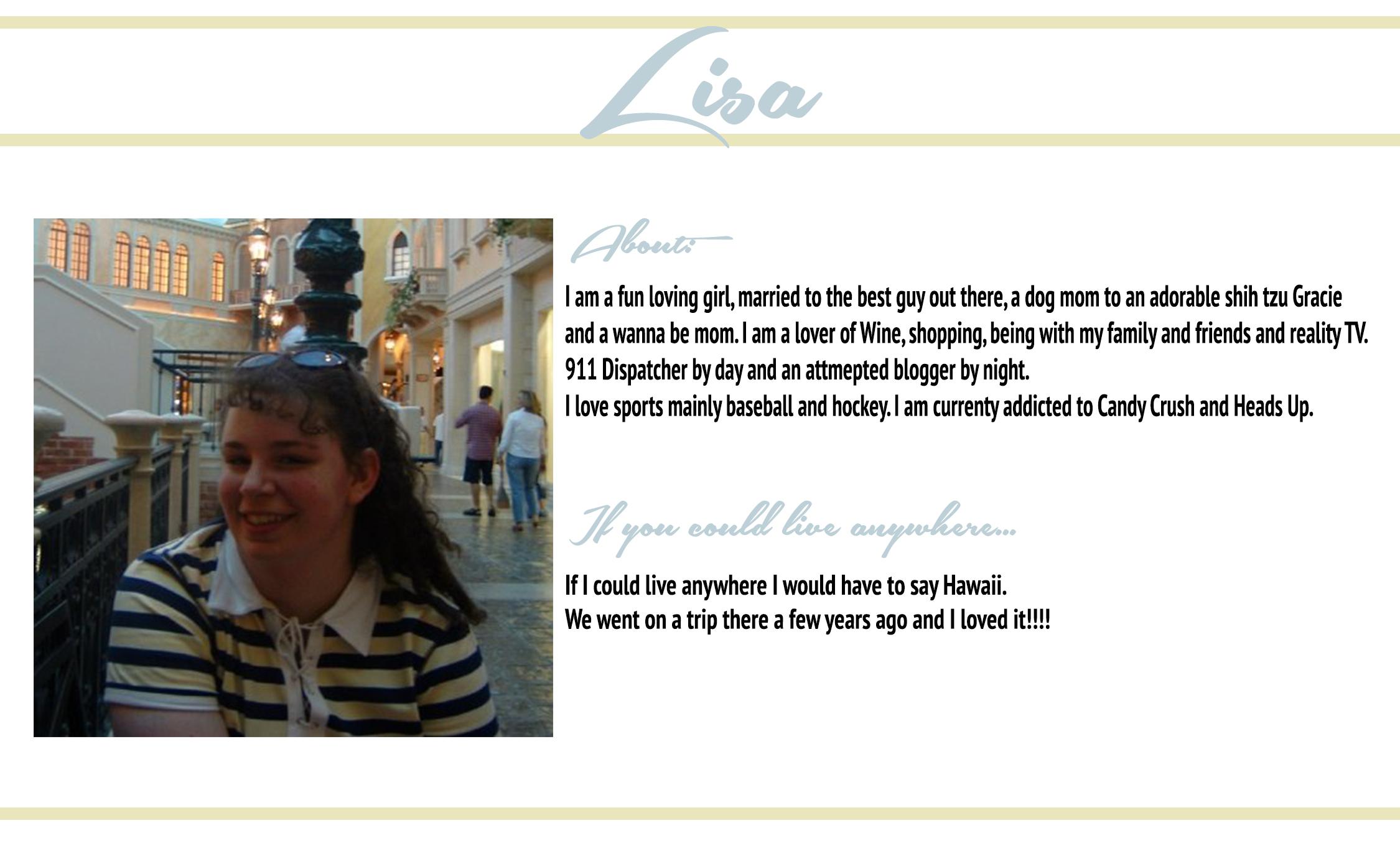 Check Lisa Out: Her Blog♥Bloglovin♥Twitter
