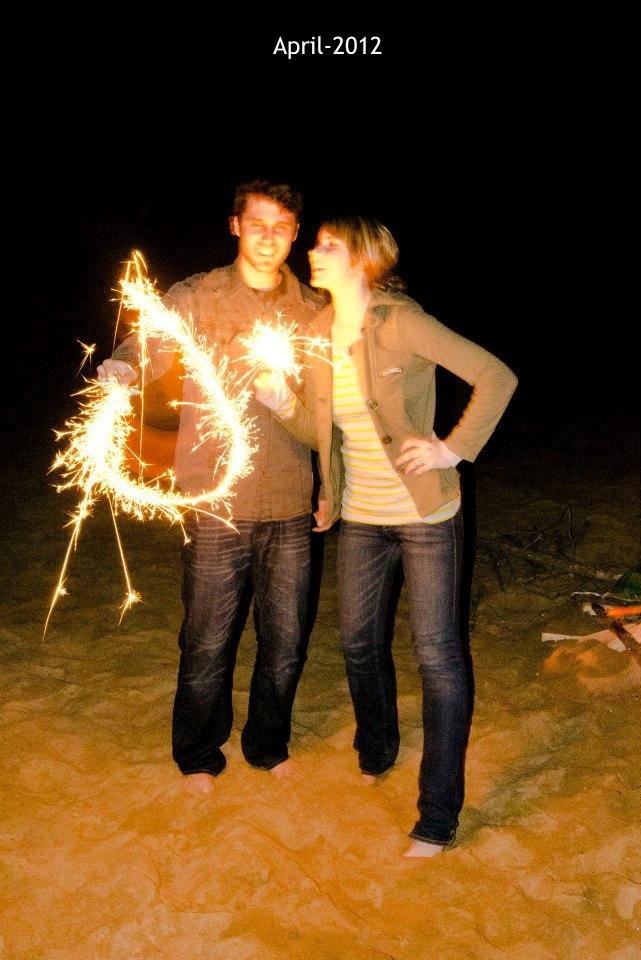 Fireworks on the beach-sparklers