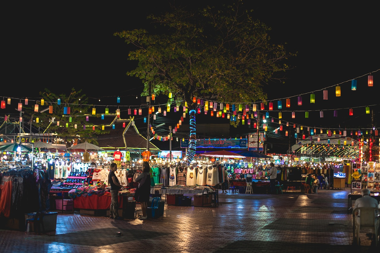 Festival of lights, Sunday Night Market, Chiang Mai, Thailand