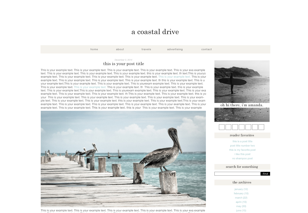 A Coastal Drive a premade theme for WordPress and Blogger by The Suitcase Designs