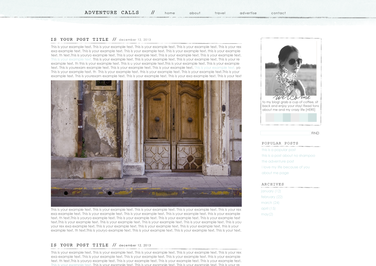 Adventure Calls a premade theme for WordPress and Blogger by The Suitcase Designs