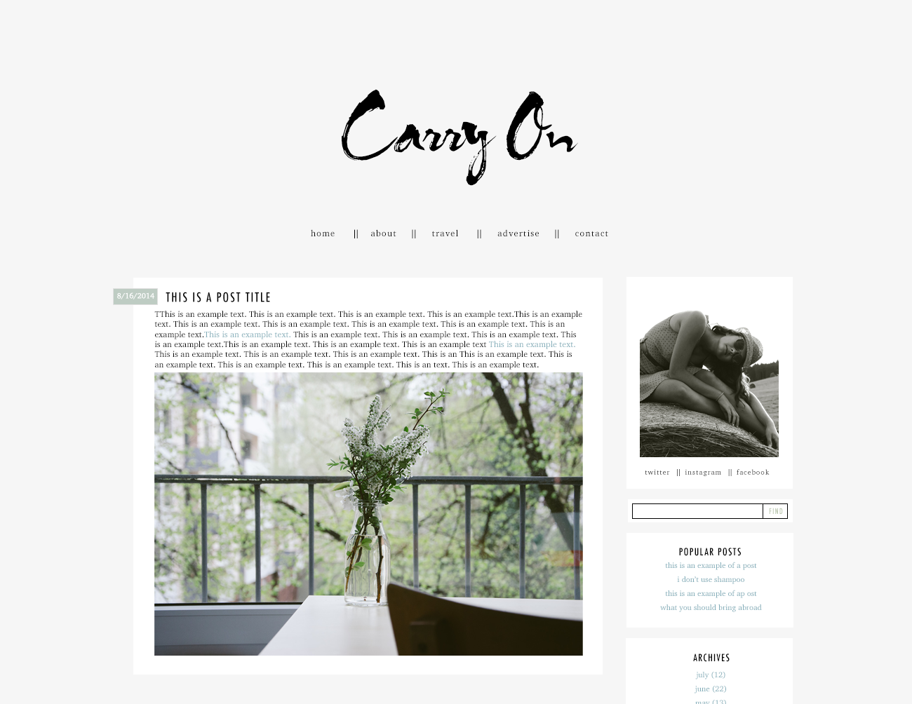 Carry On a premade theme  for WordPress and Blogger by The Suitcase Designs