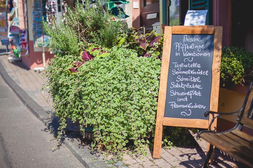 German chalkboard restaurant menu